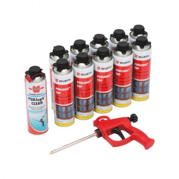 Schaum-Set MAGU Bausysteme mit Montageschaum, eine Pistole für Montageschaum und Schaumreiniger.
